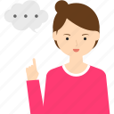 business, child, girl, people, person, speech bubble, woman icon