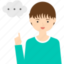 boy, business, child, man, people, person, speech bubble icon