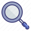 education, magnifying glass, stationary, zoom icon