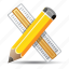 education, graphic design, pencil, ruler icon