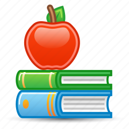 apple, education, library, literature, school books icon