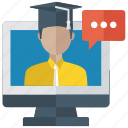 distance learning, online learning, online lecture, online presentation, video lecture icon
