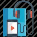 audiobook learning, audiobook study, digital education, elearning, listening icon