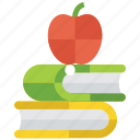 books with apple, education, knowledge, learning, library, literature