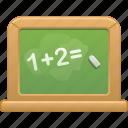 blackboard, chalkboard, class, classroom, education, math, school icon