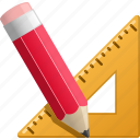 education, geometry, pencil, ruler, triangle, writing icon