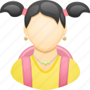 education, girl, pigtails, pupil, schoolbag, student, woman icon