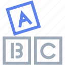 abc, alphabet, block, english, school icon