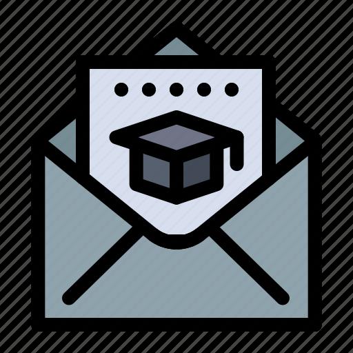 cap, education, graduation, mail icon