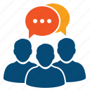 assistant, briefing, chat, collaborate, collaboration, communication, conference, congress, discussion, expert, forum, group, opinion, practice, prognosis, review, workshop icon