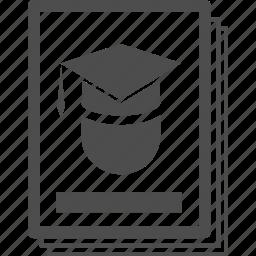 books, certificate, college, congratulation, financial, graduation, library icon