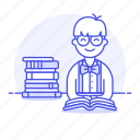 books, bookworm, education, knowledge, learning, library, male, nerd, school, smart, studying