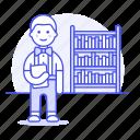 bookshelf, male, smart, nerd, study, learning, knowledge, bookworm, education, school, library