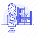 bookshelf, smart, nerd, study, learning, knowledge, bookworm, female, education, school, library
