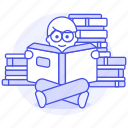 male, smart, pile, books, learning, knowledge, book, bookworm, glasses, education, reading, heap