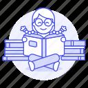 pile, learning, education, smart, knowledge, heap, bookworm, reading, glasses, books, female