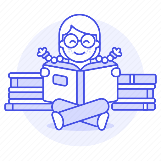 3, books, bookworm, education, female, glasses, heap, knowledge, learning, pile, reading, smart icon