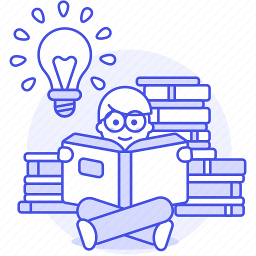1, book, bookworm, bulb, education, glasses, idea, inspiration, learning, light, male, pile, reading icon
