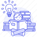 book, bookworm, bulb, education, female, heap, idea, inspiration, learning, light, reading
