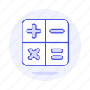 addition, calculations, calculator, education, learning, math, mathematic, operations, science, subtraction icon