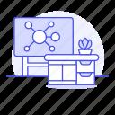 board, chemistry, class, classroom, desk, education, mindmap, molecule, plant, pot, school icon