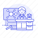 1, chemistry, classroom, desk, education, female, lecture, mindmap, school, teacher icon