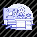 chemistry, classroom, desk, education, female, lecture, mindmap, school, teacher