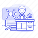 chemistry, classroom, desk, education, lecture, male, mindmap, school, teacher icon