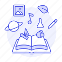 art, astronomy, book, chemistry, education, interest, knowledge, learning, math, open, science