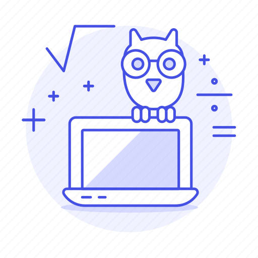 3, assignment, calculus, education, hooter, laptop, learning, math, owl, science, study, wisdom icon