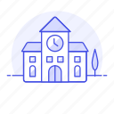 building, clock, countryside, education, field, school, town, tree icon