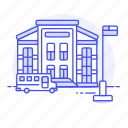 building, bus, education, elementary, institution, primary, school, transport icon