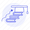 3, achievement, books, dificulty, education, graduation, learn, level, process, progress, stairs icon