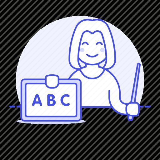 1, 2, education, female, home, in, instructor, learn, school, teacher, tuition, tutor, whiteboard icon
