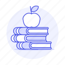 appetizer, apple, books, class, education, high, knowledge, learn, learning, school, study