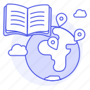 anywhere, book, distance, education, global, instruction, learning, long, modern, remote icon