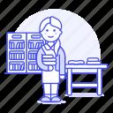 2, books, bookshelves, desk, education, employee, female, librarian, library, registry, school icon
