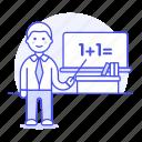 board, classroom, desk, education, instructor, male, math, school, teacher, whiteboard