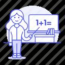 2, board, classroom, desk, education, female, instructor, math, school, teacher, whiteboard icon