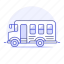 bus, education, ground, high, school, students, transport, vehicle, yellow icon