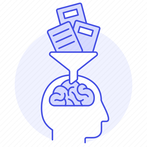 1, book, brain, choice, education, filter, funnel, knowledge, learning, preferation, selection, study icon