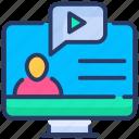 course, education, internet, online, video, web icon