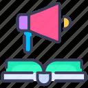 announcement, book, education, marketing, megaphone, promotion, rules