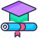 certificate, certification, degree, diploma, graduation, graduation cap