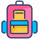 backpack, bag, camping, school, student icon