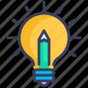 bulb, creative, idea, innovation, pencil, teaching, thought
