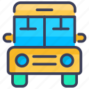 autobus, bus, bus school, school, school bus, transport icon