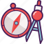 compass, directions, geographic, navigation, point, protractor icon