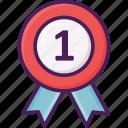 awarded, medal, medallion, neck, reward, round, victory icon