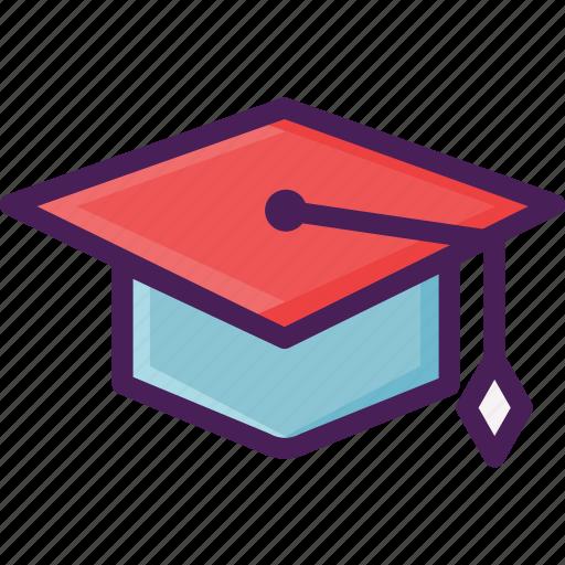 academic cap, cap, graduate cap, mortarboard, square, university icon